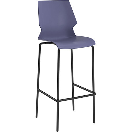 Titan Uni High Classroom Stool with Backrest 475mm Seat Height Grey Frame &Blue Seat