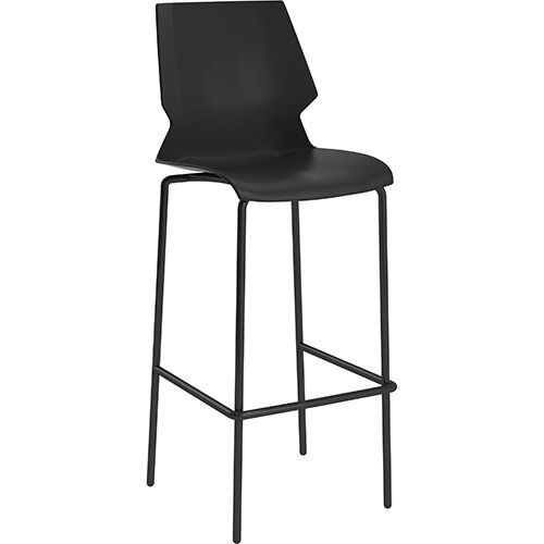 Titan Uni High Classroom Stool with Backrest 475mm Seat Height Grey Frame &Black Seat