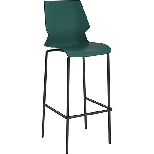 Titan Uni High Classroom Stool with Backrest 475mm Seat Height Grey Frame &Green Seat