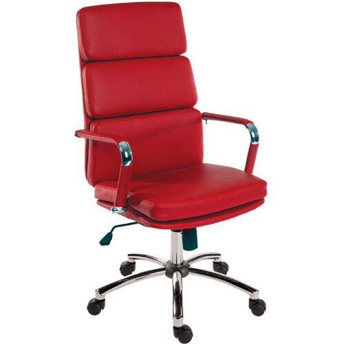 Deco Executive Faux Leather Office Chair In Red