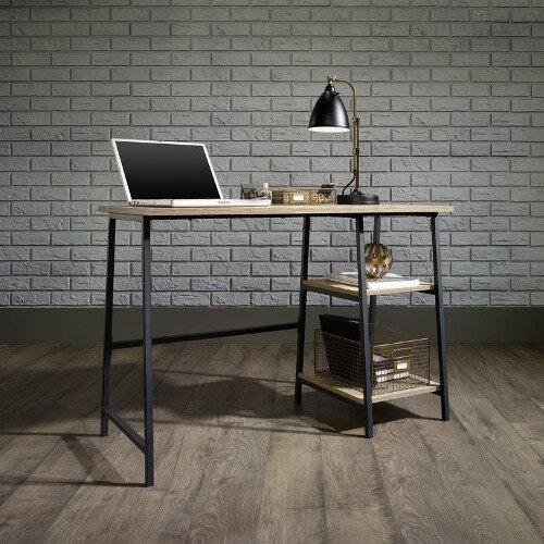Industrial Style Home Office Bench DeskIn Charter Oak Effect