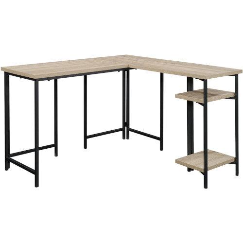 Industrial Style L-Shaped Home Office Desk Charter Oak