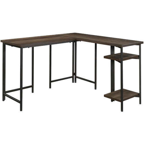 Industrial Style L-Shaped Home Office Desk Smoked Oak