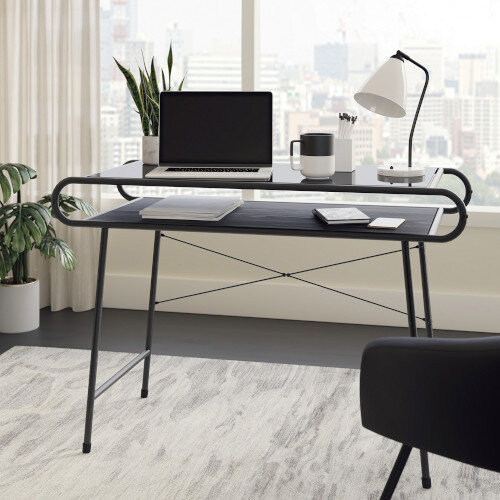 Metro Home Office Desk with Safety-Tempered Black Glass &Misted Elm Finish