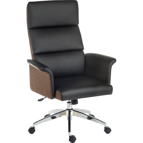 Elegance High Gull Wing Armed High Back Executive Office Chair With Supple Leather Look Upholstery In Black