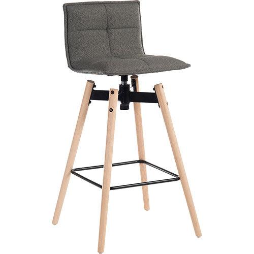 Spin Barstool Light Wood Frame &Grey Seat