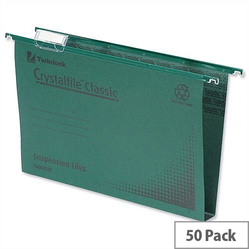 crystalfile classic a4 suspension file 30mm green pack 50. Black Bedroom Furniture Sets. Home Design Ideas