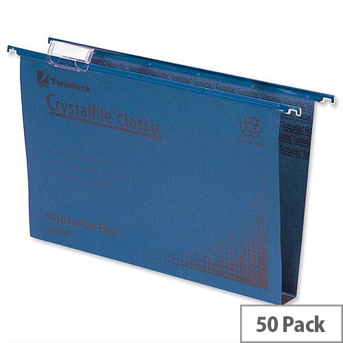 Rexel Crystalfile Classic Vertical Suspension File Blue 30mm Foolscap Pack 50