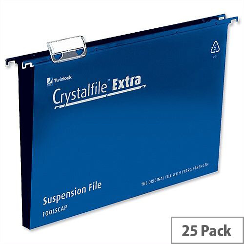 Rexel Crystalfile Extra Foolscap Vertical Suspension File Blue Plastic 30mm Pack 25