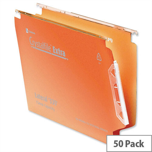 Rexel Crystalfile Lateral 330mm Suspension File V-base 15mm Orange Pack 50