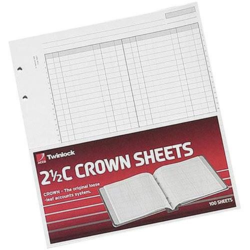 Twinlock 2.5C Crown Double Ledger Sheets Ref 75831 Pack 100 x 5  T75831