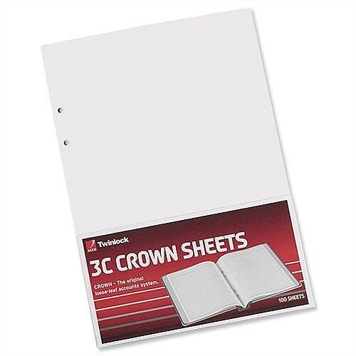 Twinlock 3C Crown Double Ledger Sheets Pack 100 T75841