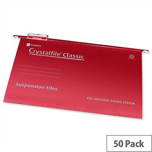 Rexel Crystalfile A4 Vertical Suspension File V-base 15mm Red Pack 50