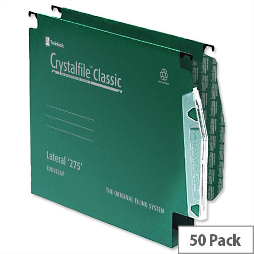 "Rexel Crystalfile 12"" 275mm Lateral Suspension File 30mm Wide Base Green Pack 50 ref 78656"