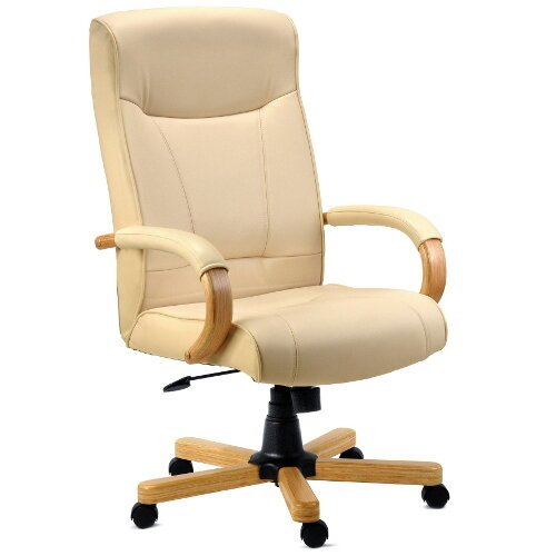 Knightsbridge Executive Cream Bonded Leather Faced Office Armchair With Light Oak Colour Wooden Arms And Legs