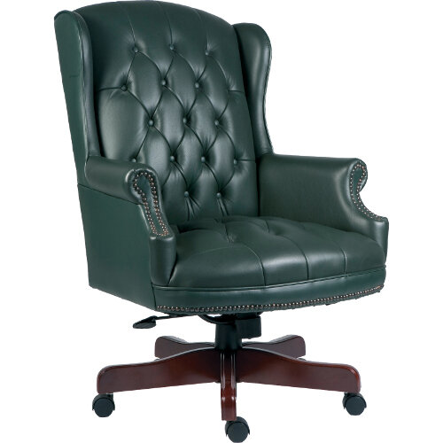 Chairman Executive Leather Faced Office Chair With Fruitwood Finish 5 Castor Base Green