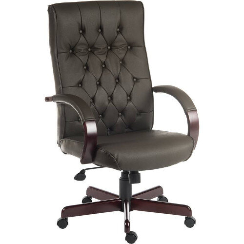 Warwick Traditional Office Chair Button Tufted Bonded Leather Backrest In Brown With Mahogany Colour Wooden Arms And Legs