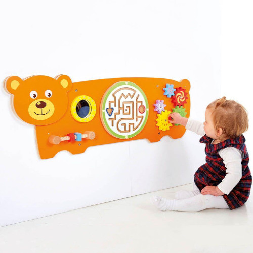 Bear Wall Panel - Educational Toy - Improving Motor Activities - 32cm x 91cm x 7cm (HWD) - Colour: Orange