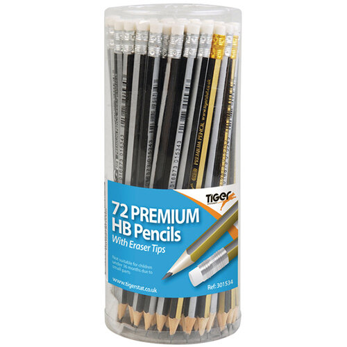 Tiger HB Eraser Tip Pencils Pot Assorted Pack of 72 301534