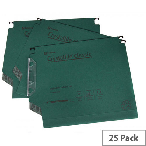 Rexel CrystalFile Classic Lateral 330mm Suspension File Wide Base 30mm Green Pack of 25 3000109