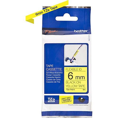 Brother TZe-FX611 6mm Black on Yellow Flexible ID Laminated TZe Tape Cassette 8 Metres