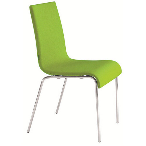 Frovi ZERO Fully Upholstered Canteen Chair With 4 Leg Chrome Base H850xW450xD510mm 450mm Seat Height - Fabric Band D