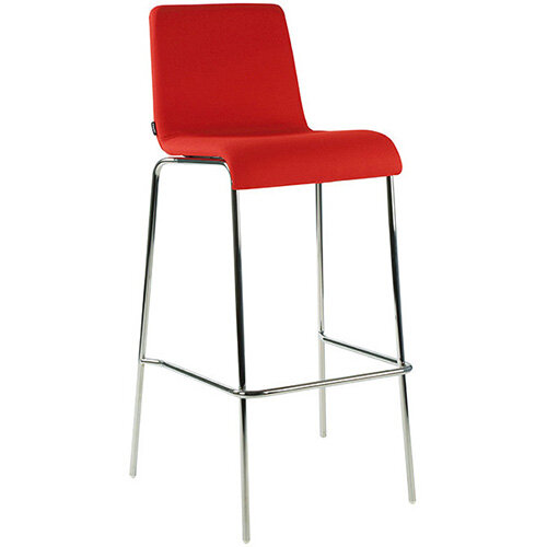 Frovi ZERO Fully Upholstered Canteen Stool With 4 Leg Chrome Base H1050xW530xD470mm 780mm Seat Height - Fabric Band H