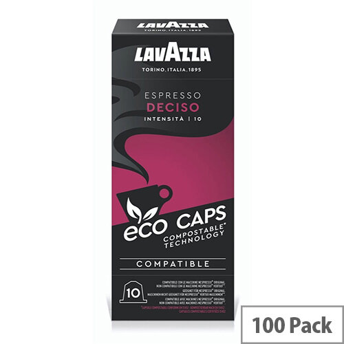 Lavazza Eco Caps Nespresso Coffee Machine Compatible Capsules 100% Compostable Deciso -  Pack of 100