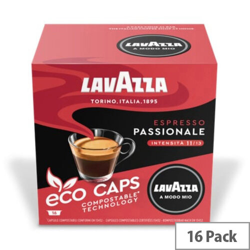 Lavazza Modo Mio PASSIONALE COMPOSTABLE Eco Coffee Capsules Pack of 16 Pods (Min. Order Qty - 2)