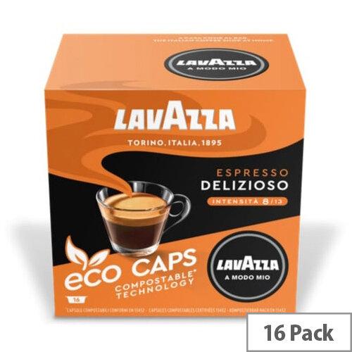 Lavazza Modo Mio DELIZIOSO COMPOSTABLE Eco Coffee Capsules Pack of 16 Pods (Min. Order Qty - 2)