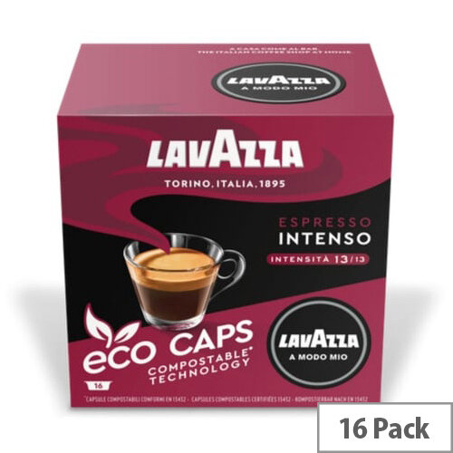 Lavazza Modo Mio INTENSO COMPOSTABLE Eco Coffee Capsules Pack of 16 Pods (Min. Order Qty - 2)