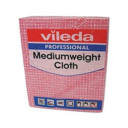 Vileda Medium Weight Cloth Red Pk10 1064