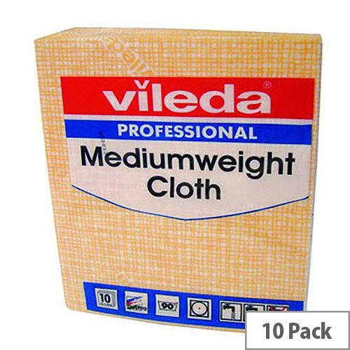 Vileda Medium Weight Cloth Yellow Pack 10