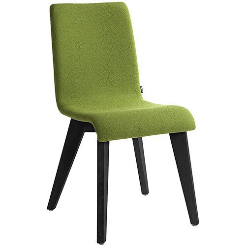Frovi JIG Upholstered Canteen Chair With Black Oak 4 Leg Wooden Frame H880xW430xD530mm 460mm Seat Height - Fabric Band H