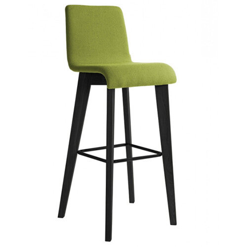 Frovi JIG Upholstered Canteen Stool With Black Oak 4 Leg Wooden Frame &Painted Foot Ring H1050xW460xD530mm 820mm Seat Height - Fabric Band A/RAL
