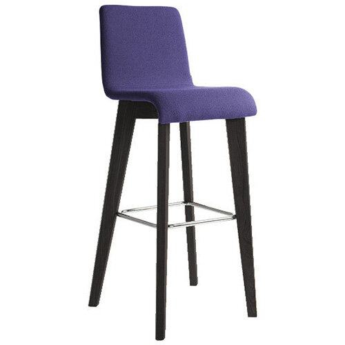 Frovi JIG Upholstered Canteen Stool With Black Oak 4 Leg Wooden Frame &Chrome Foot Ring H1050xW460xD530mm 820mm Seat Height - Fabric Band B