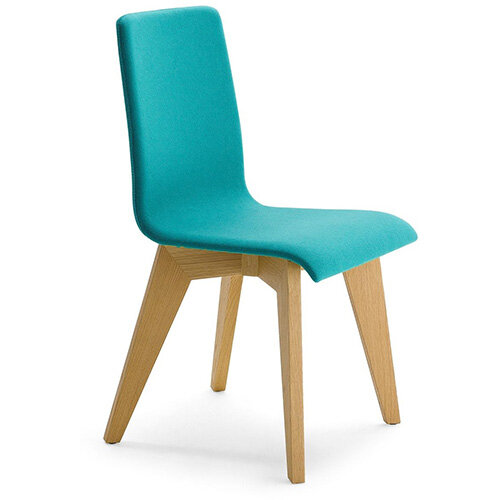 Frovi JIG Upholstered Canteen Chair With Natural Oak 4 Leg Wooden Frame H880xW430xD530mm 460mm Seat Height - Fabric Band G