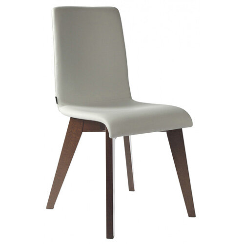 Frovi JIG Upholstered Canteen Chair With Stained Walnut 4 Leg Wooden Frame H880xW430xD530mm 460mm Seat Height - Fabric Band I