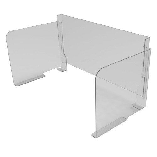 Pro-Tech Viral Plexiglass Desk Guard Screen with Straight Edge with Full Back - For Use with Desk Width 1200mm