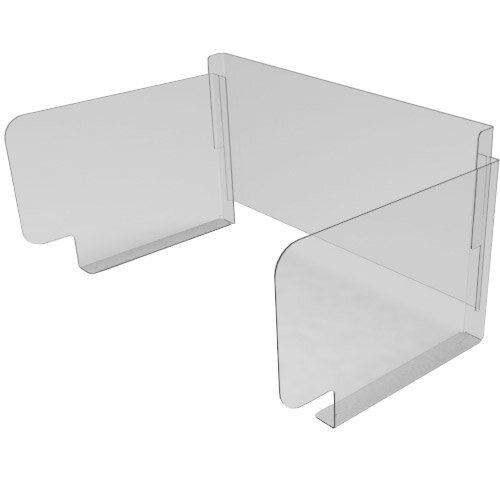 Pro-Tech Viral Plexiglass Desk Guard Screen with Wing Edge with Full Back - For Use with Desk Width 1600mm