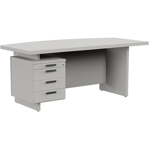 Grand Executive Office Desk With Left Side Drawers 1800mm Grey