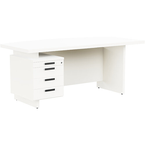 Grand Executive Office Desk With Left Side Drawers 1800mm White