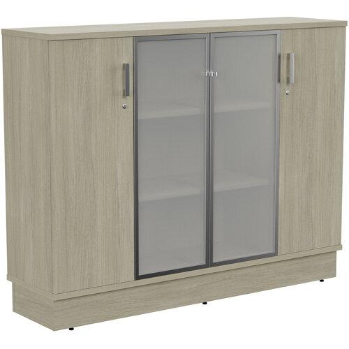Grand Medium 2 Wooden &2 Frosted Glass Door Credenza Cabinet W1605xD420xH1255mm Arctic Oak