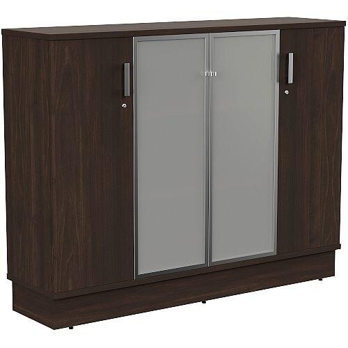 Grand Medium 2 Wooden &2 Frosted Glass Door Credenza Cabinet W1605xD420xH1255mm Dark Walnut