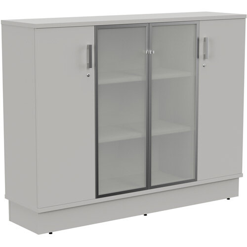 Grand Medium 2 Wooden &2 Frosted Glass Door Credenza Cabinet W1605xD420xH1255mm Grey