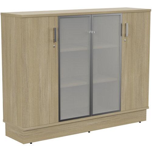 Grand Medium 2 Wooden &2 Frosted Glass Door Credenza Cabinet W1605xD420xH1255mm Urban Oak