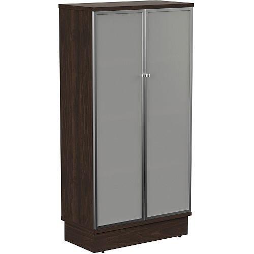 Grand Tall Cupboard With Frosted Glass Doors W805xD420xH1615mm Dark Walnut