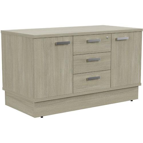 Grand 2 Door &3 Drawer Credenza Unit W1200xD600xH705mm Arctic Oak