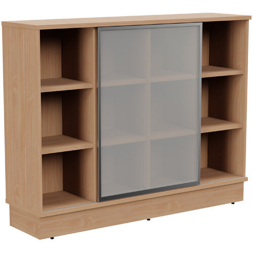 Grand Medium Cube Shelf Bookcase With Sliding Frosted Glass Door W1605xD420xH1255mm Beech
