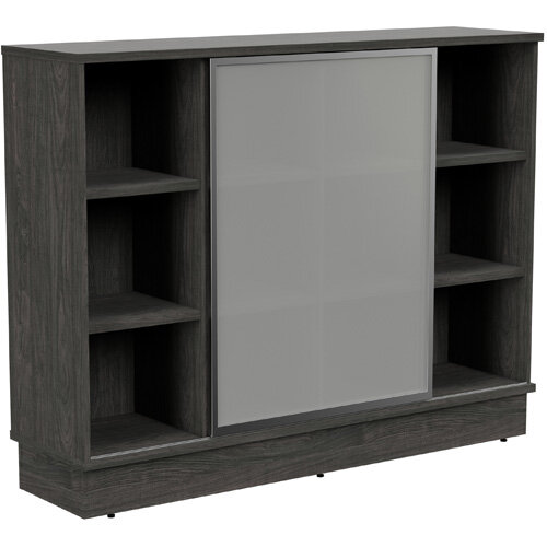 Grand Medium Cube Shelf Bookcase With Sliding Frosted Glass Door W1605xD420xH1255mm Carbon Walnut